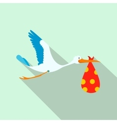 Flying stork with a bundle flat icon vector image vector image