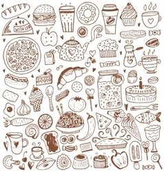Food sketch elements collection vector image