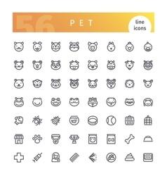 Pet line icons set vector