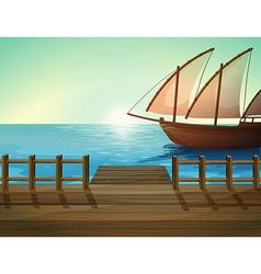 Seaport ship vector image