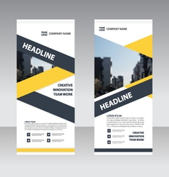 Yellow Roll Up Banner flat design template set vector image vector image