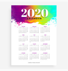 2020 watercolor style calendar design for new year vector