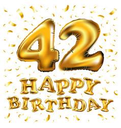 42 anniversary celebration with brilliant gold vector