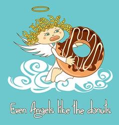 Angel eating big donut vector