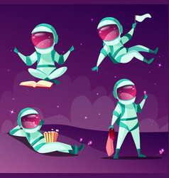 Astronauts in weightlessness zero gravity planet vector
