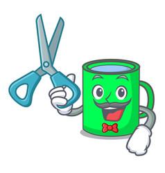 Barber mug character cartoon style vector