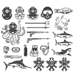 Big set of diving icons diver equipment weapon vector