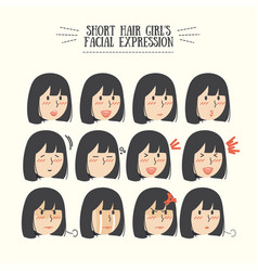 Black short hair girl with various expression vector