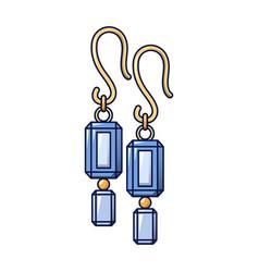 Blue topaz earrings icon cartoon style vector