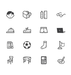 Boy school black icon set on white background vector
