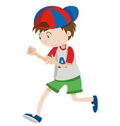 Boy with a cap walking vector image