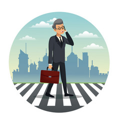 business man talk walking street urban background vector image
