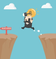 Businessman jump over the cliffBig Boss vector