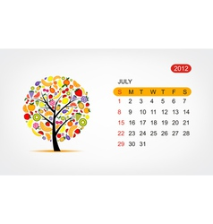 calendar 2012 july Art tree design vector image