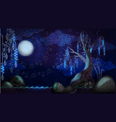 cartoon seascape with moon and tree vector image
