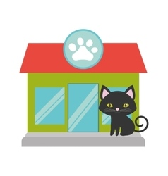 cat pink ears green eyes pet shop facade paw print vector image