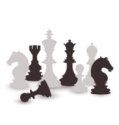 Chess figures set black and white international vector