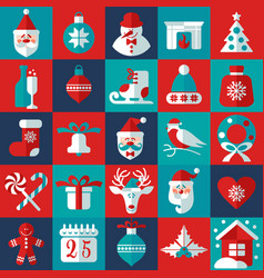 Christmas and new year background icons set vector