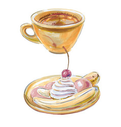 coffee lungo dessert banana boat vector image