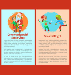conversation with santa snowball fights postcards vector image