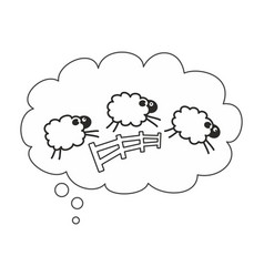 counting sheep in bubble speech insomnia sign vector image