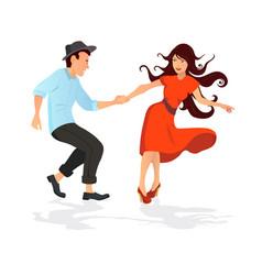 Couple dancing swing rock or lindy hop vector