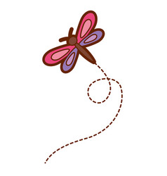 Cute flying dragonfly natural animal vector