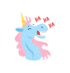 Cute funny laughing unicorn character cartoon vector