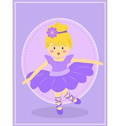 Cute Purple Ballerina Girl vector