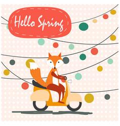 Cute spring summer fox wolf ride motor bike vector