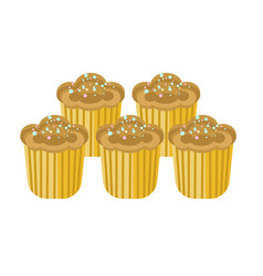 delicious sweet cupcakes with cream and sprinkles vector image