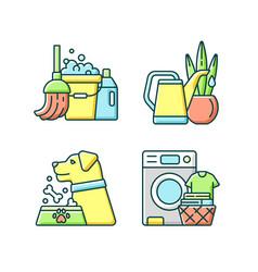 Domestic chores rgb color icons set vector