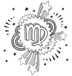 doodle pop astrology virgo vector image
