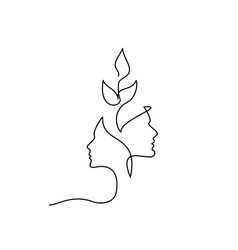faces man and woman with growing plant one line vector image