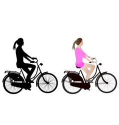 Female bicyclist vector