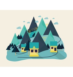 flat eco liner design rural landscape business vector image