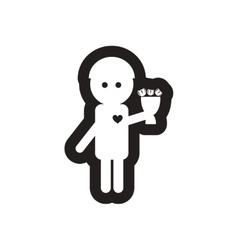 Flat icon in black and white man in love vector