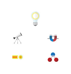 Flat icon knowledge set of lightbulb nuclear vector