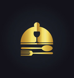 Food dish gold logo vector