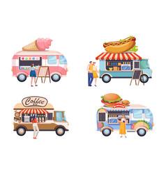 Food truck flat set vector