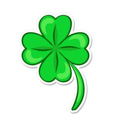 Four leaf green clover lucky quatrefoil good vector