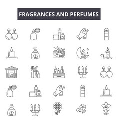 Fragrances and perfumes line icons for web and vector