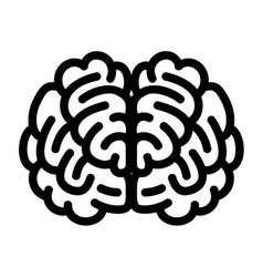 Front side brain icon outline style vector