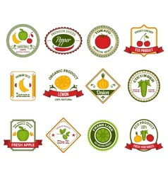 Fruit vegetables labels set color vector