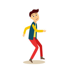 funny young man student guy dancing at a party vector image