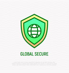 global secure thin line icon shield with globe vector image