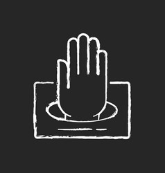 gloves in box chalk white icon on black background vector image