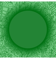 Green background with lacy leaves pattern vector image