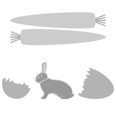 Grey rabbit hatched from an egg and carrot frames vector