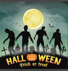 halloween silhouette zombie in a night graveyard vector image